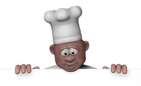 diet cartoon: cartoon chef on blank white board - 3d illustration
