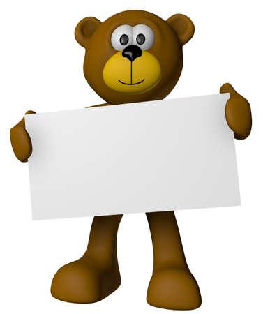 teddy bear and blank sign - 3d cartoon illustration Zdjęcie Seryjne