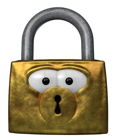 padlock with cartoon eyes - 3d illustration Stock Illustration - 12603824