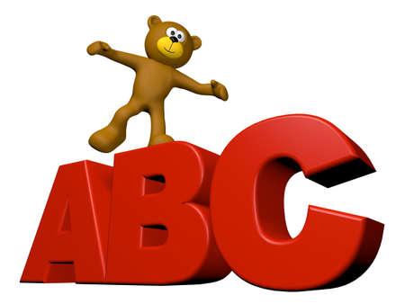 teddy bear on letters abc - 3d illustration illustration