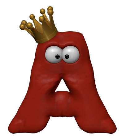 red letter a with comic eyes and crown - 3d illustration illustration
