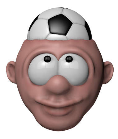 cartoon character with soccer ball in his head - 3d illustration illustration