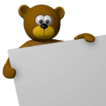 teddy bear and blank sign - 3d cartoon illustration illustration