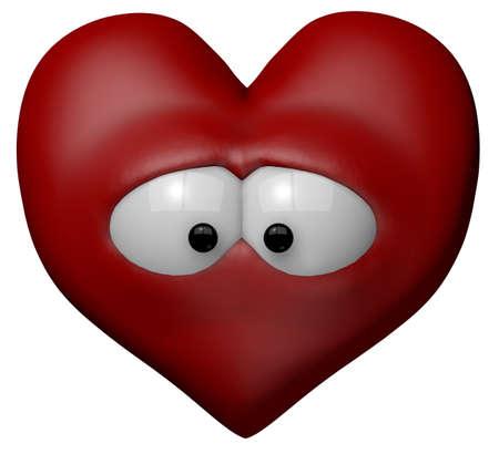 sad love: sad red heart with eyes - 3d cartoon illustration