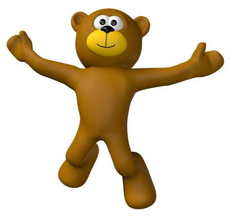 jumping teddybeer - 3d illustration