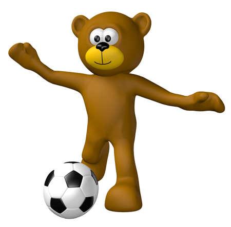 deportes caricatura: oso de peluche con el balón de fútbol - 3d ilustración Foto de archivo