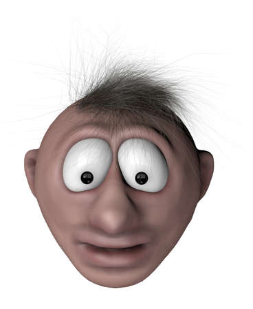 speechless: speechless cartoon man with chaotic hair - 3d illustration