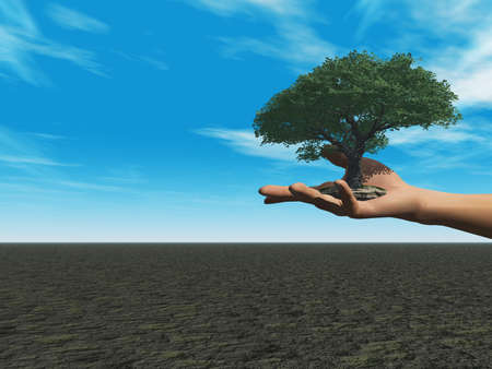 hands holding plant: human hand with tree - 3d illustration