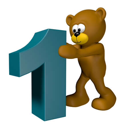 pushes: teddy pushes number one - 3d illustration Stock Photo