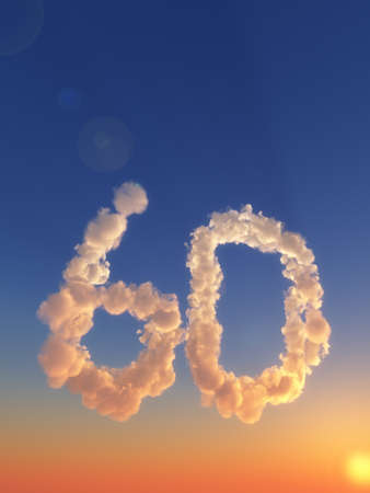 six year old: clouds makes the shape of number sixty - 3d illustration