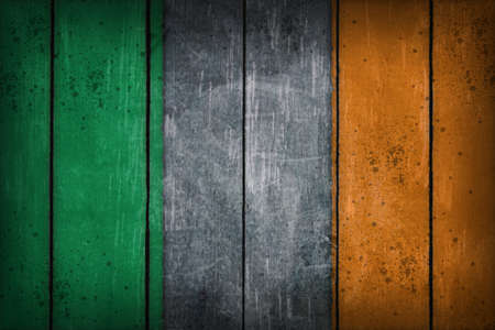 ireland flag painted on old wooden wound photo