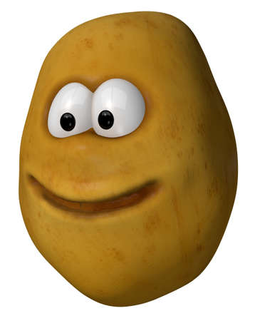 tuber vegetables: funny potato with cartoon face - 3d illustration Stock Photo