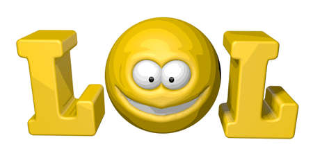 slang: teh word lol with smiley - 3d illustration Stock Photo