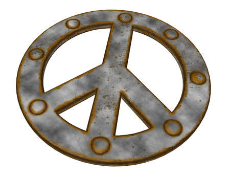 rusted riveted pacific symbol on white background - 3d illustration illustration