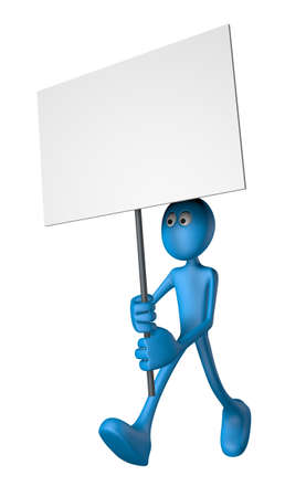 blue guy and blank banner - 3d illustration Stock Illustration - 12857757