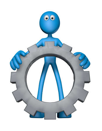 mechanical engineer: blue guy with gear wheel - 3d illustration