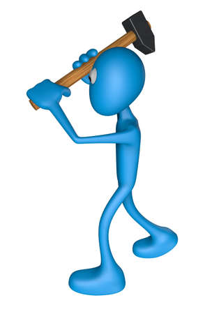 blue guy with big hammer - 3d illustration Stock Illustration - 12857760