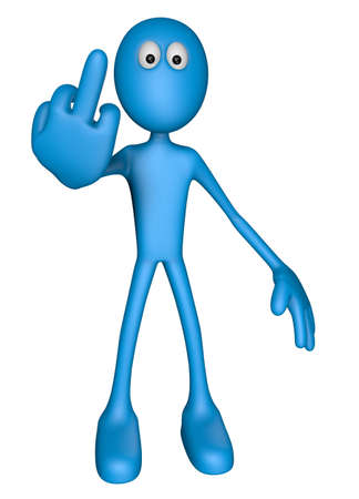 middle finger: blue guy shows his middle finger - 3d illustration Stock Photo