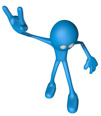blue guy shows heavy metal hand - 3d illustration Stock Illustration - 12857773