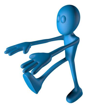 sleepwalker: blue guy is sleepwalking - 3d illustration
