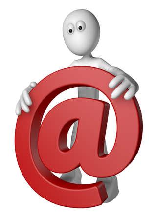 white guy is holding email alias - 3d illustration Stock Illustration - 12857803