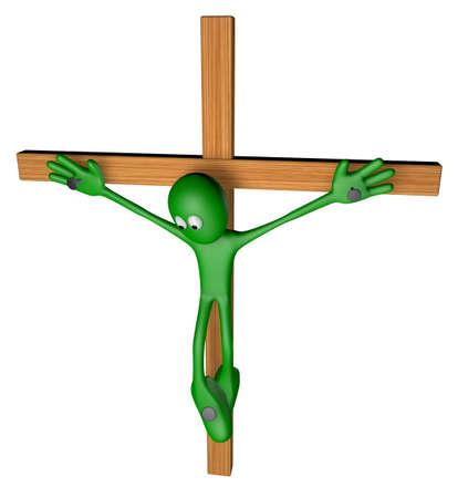 green guy nailed on wooden cross - 3d illustration illustration