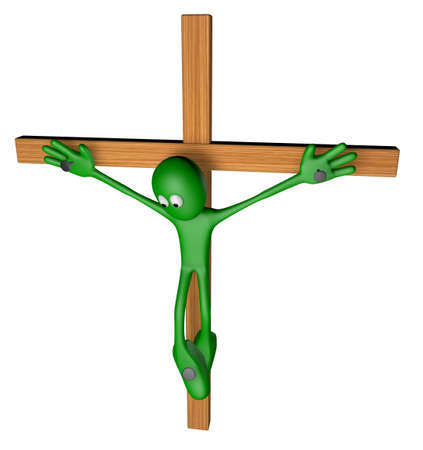 nailed: green guy nailed on wooden cross - 3d illustration