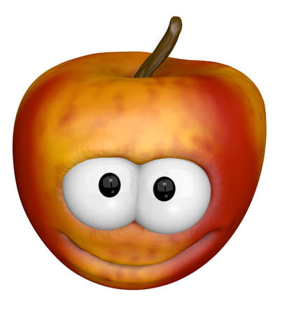 funny apple with conic face - 3d illustration Stok Fotoğraf