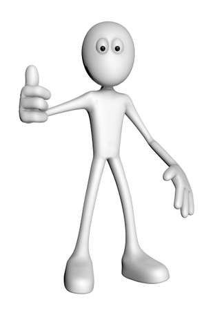 white guy with thumb up - 3d illustration Stock Illustration - 12857816