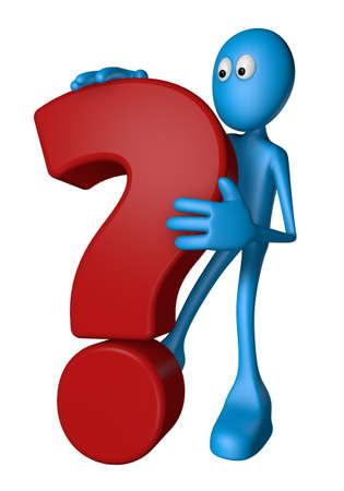blue guy and question mark - 3d illustration Stock Illustration - 12857821