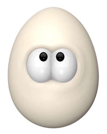 huevo caricatura: huevo con ojos de historietas - ilustraci�n de dibujos animados en 3D