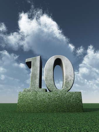numero diez: piedra de n�mero diez monumento bajo el cielo azul nublado - 3d ilustraci�n