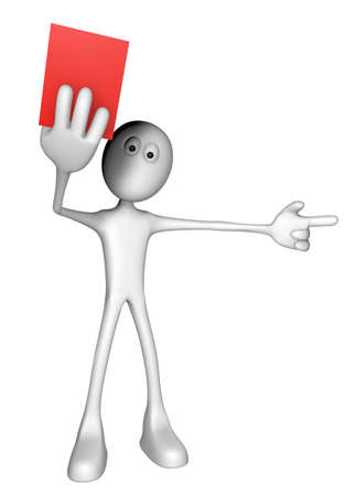 white guy shows red card - 3d illustration Stock Illustration - 12973362
