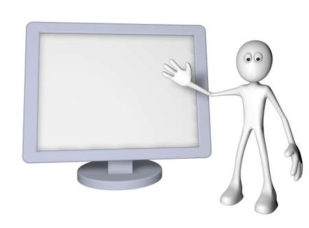 white guy and flatscreen monitor - 3d illustration Stock Illustration - 12973364
