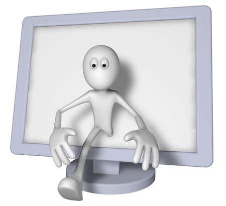 flatscreen: white guy and flatscreen monitor - 3d illustration