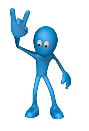 blue guy shows heavy metal hand - 3d illustration Stock Illustration - 12973387