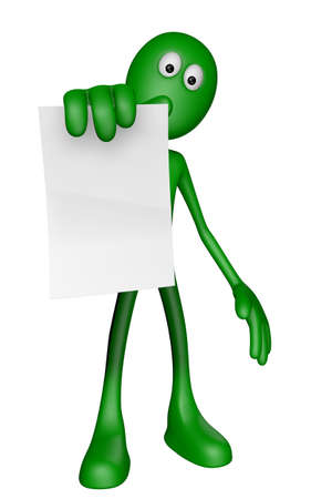 green guy is holding blank paper sheet - 3d illustration illustration
