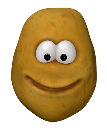 starch: funny potato with cartoon face - 3d illustration Stock Photo