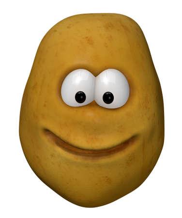 funny potato with cartoon face - 3d illustration Stock Illustration - 12973730