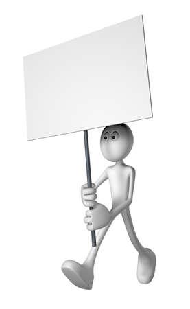 white guy and blank banner - 3d illustration Stock Illustration - 13045989