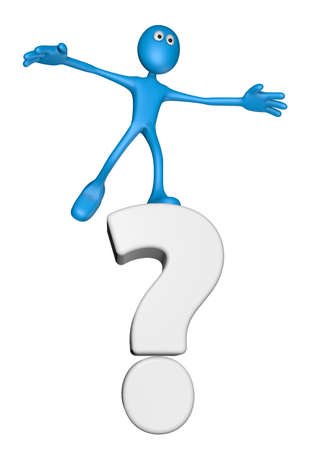 blue guy and question mark - 3d illustration Stock Illustration - 13045994
