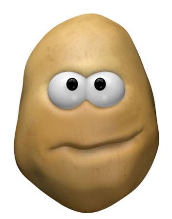 funny potato with cartoon face - 3d illustration Zdjęcie Seryjne