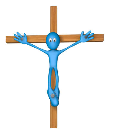 nailed: blue guy nailed on wooden cross - 3d illustration