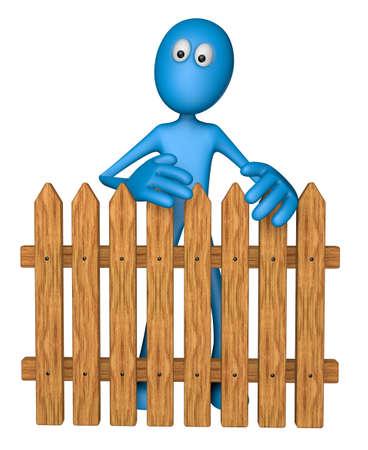 blue guy behind garden fence - 3d illustration Stock Illustration - 13076512