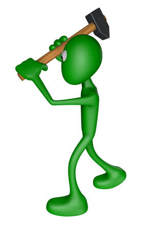 green guy with big hammer - 3d illustration Stock Illustration - 13109056