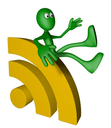 green guy and rss symbol - 3d illustration Stock Illustration - 13109066