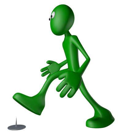 tack: walking green guy  and tack on the floor - 3d illustration Stock Photo