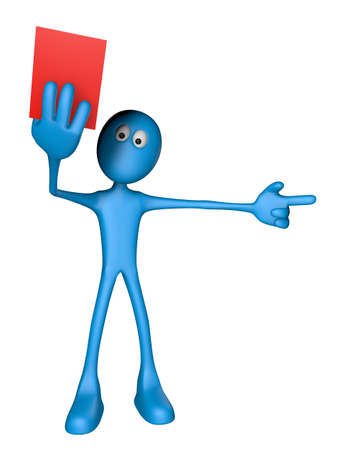 soccer referees hand with red card: blue guy shows red card - 3d illustration