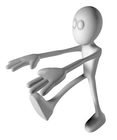 sleepwalker: white guy is sleepwalking - 3d illustration