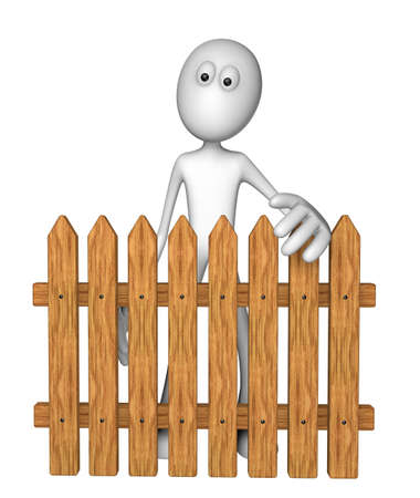 white guy behind garden fence - 3d illustration illustration
